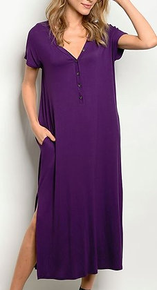V-NECK BUTTON JERSEY SLIT MAXI DRESS