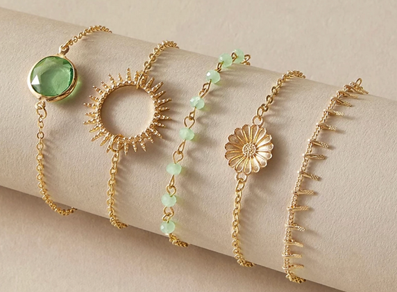 Bohemian Stackable Green and Gold Bracelets