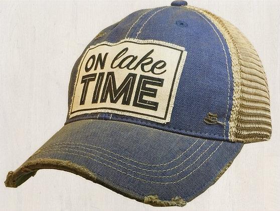 """On Lake Time"" Distressed Cap"