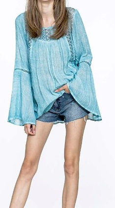 BELL SLEEVE LACE INSET TOP WITH BACK DETAIL