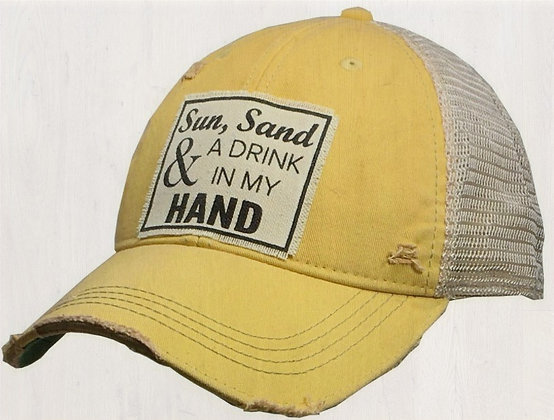 """Sun Sand & A Drink In My Hand"" Distressed Cap"