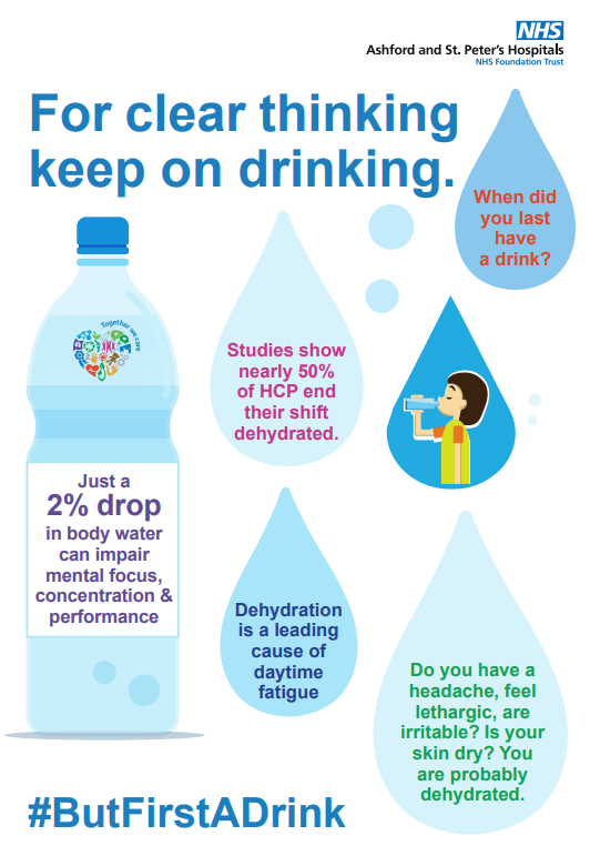The image advises people to drink more fluids. #ButFirstADrink NHS campaign