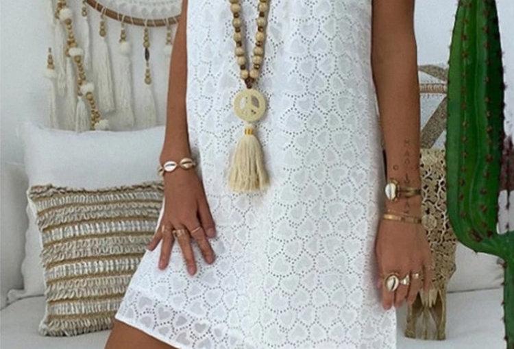 Summer Boho Casual White Beach Dress