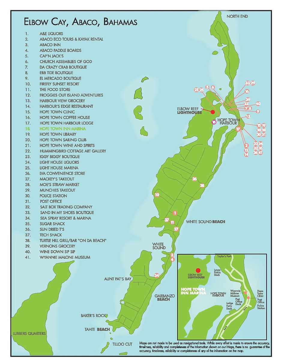 Map of Hope Town, Elbow Cay, Abaco, The Bahamas