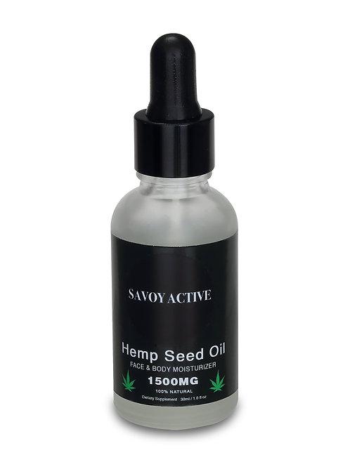 Hemp Seed Moisturizing Oil - Premium Grade - 100% Organic - 1500MG - 1 Fl. Oz.