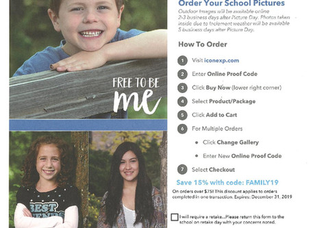 Photos Ready!  Placing Your Picture Order -  Free Shipping until October 15! Retake Day October 16!