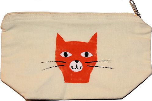 Cat screen print zip bag