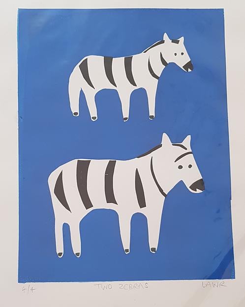Rough Screen Print Two Zebra 4/4