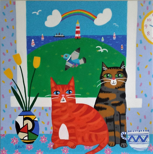Clarice and Cliff with Tulips 30cm x 30cm print