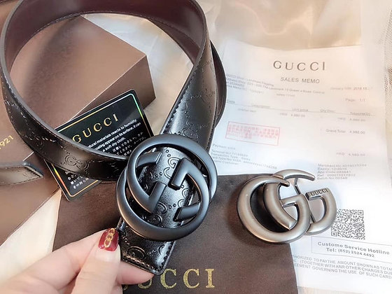 Gucci Double Emblem Belt Set