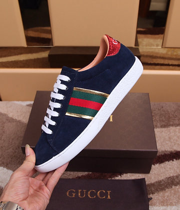 GUCCI BLUE SUEDE LOW TOP SNEAKER