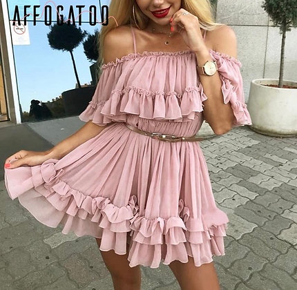 AFFOGATOO Chiffon Ruffle Pleated Fashion Dress