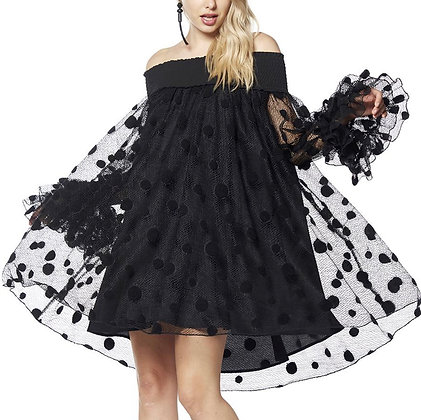 MESH POLKA DOT LAYERED DRESS