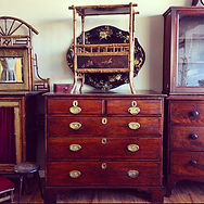George lll Oak chest of drawers & Victorian bamboo magazine rack