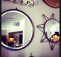1930's round bevelled mirror & retro Starburst mirror