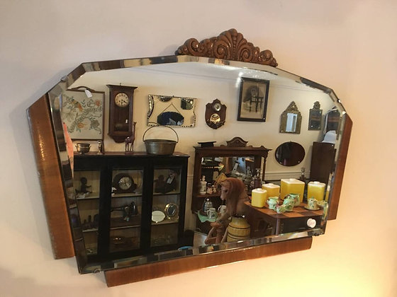 Amazing Antique Art Deco Bevelled Mirror with Walnut frame