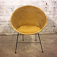 Mid Century designer wicker hoop chair