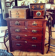 19th century 2 over 3 chest of drawers,Mantle clock & cutlery box