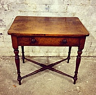 Mahogany & Walnut single drawer table with under stretchers
