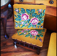 Oak floral needlepoint stools