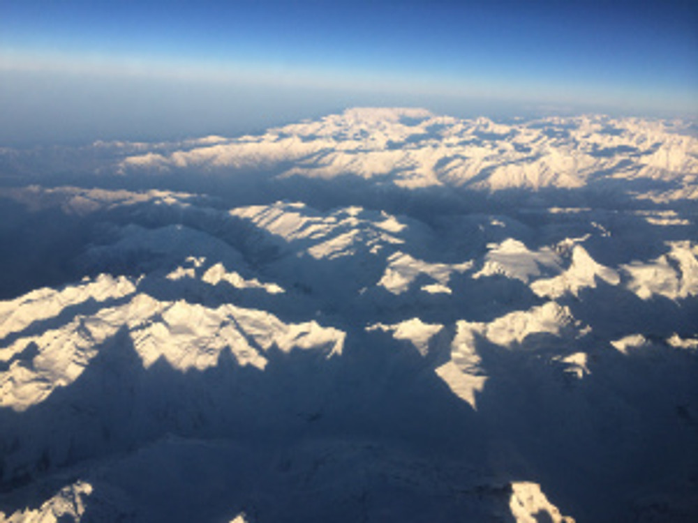 Himalayan ranges as seen from the aircraft minutes before landing!