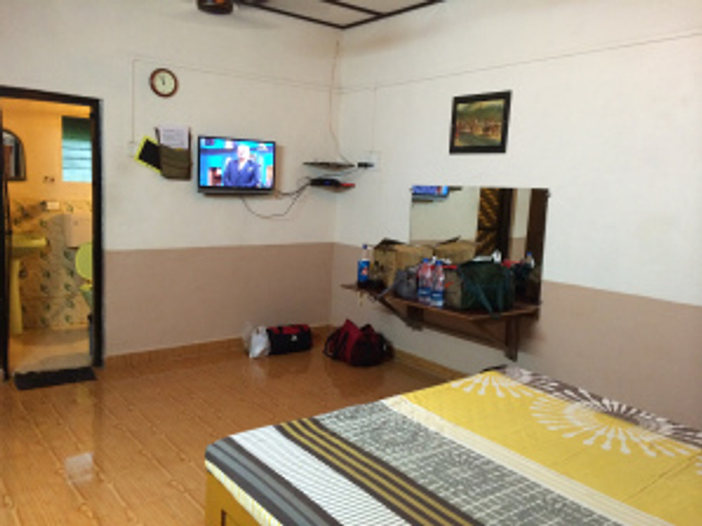 The living area in the room