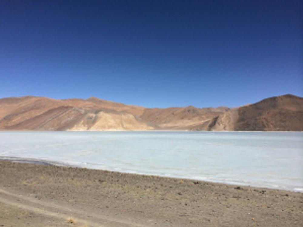 Frozen Pangong Tso lake