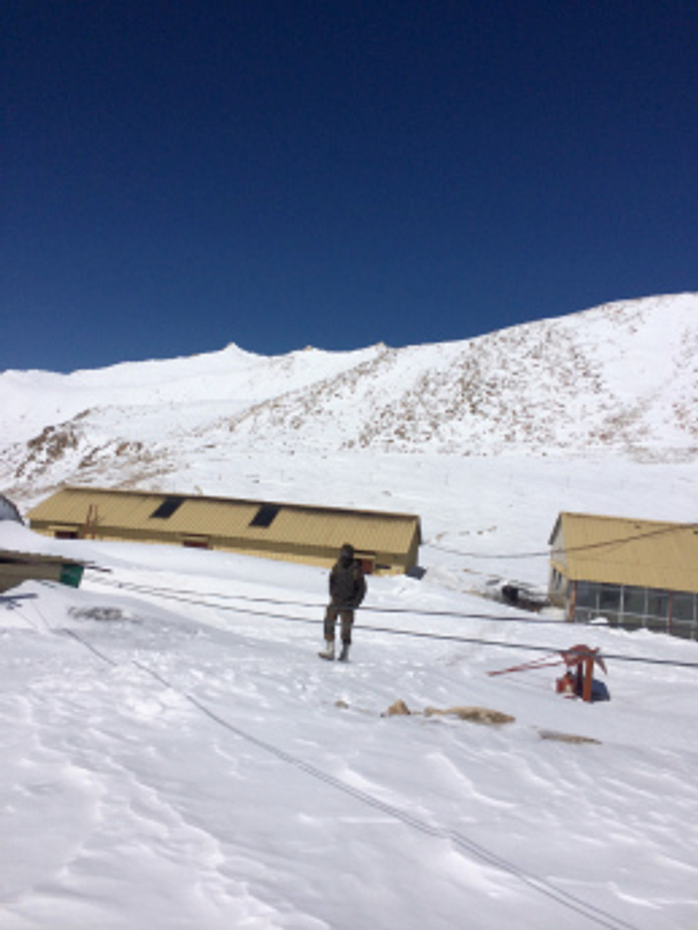 Even the army camps were sunk deep in snow at Khardungla