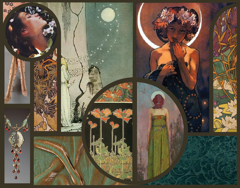 The inspiration for this lounge wear collection comes from the Art Nouveau movement. Notable artists from this period such as Alponse Mucha, Eugène Grasset and Gaspar Camp. Women in these artists works are often portrayed shrouded in drapey sensual fabrics, in nature surrounded by flowers. Lingerie and lounge wear often features elements like lace, or trims that although pretty, are not as well suited for comfortable lounging and sleeping. This collection envelopes you in warmth and softness. Soft knits drape over lightly supportive bandeaus and self lined stretch velvet robes keep you snug and warm on dreamy spring evenings. This collection is for women who value comfort and beauty and treat them themselves to a touch of luxury at the end of the day.