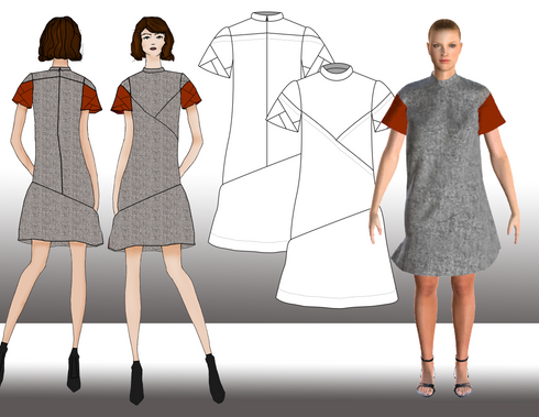 This shift dress features an asymmetric dropped waist, a mock neck collar, with a back yoke, and intersecting pleats that shape the bustline. The sleeves have intersecting pleats in a rust red wool double cloth, which accents the textured grey wool of the sleeve caps and dress. The dress is fully lined with a mauve polyester lining, and finished with an invisible zipper at center back and a matching covered buttons.