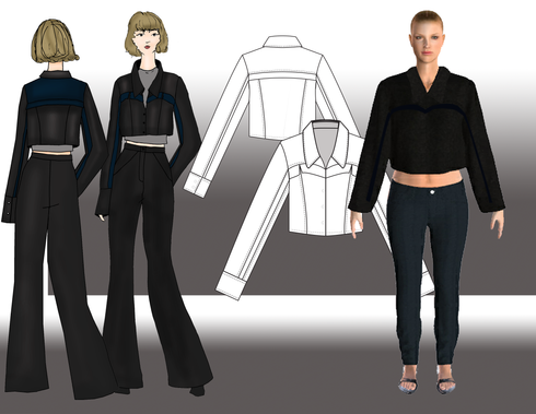 This cropped jacket features a relaxed boxy silhouette and collar with an open neckline and convertible collar. This jacket features a heart shaped yoke line above the bust and princess panels below. The yoke line has a sheer inset. The sleeves have a boxy fit and sheer panel, and are finished with an oversized cuff. The back features a yoke line with a sheer inset and a princess seams below. The yoke itself is also sheer and has some decorative pleating. This jacket is contructed from black denim with navy organza accents.