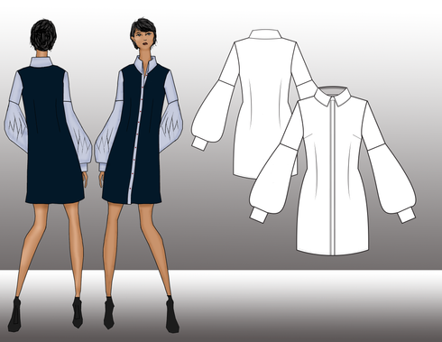 This semi fitted shirt dress features a button front closure, collar with stand and single waist darts. The sleeves feature a fitted silhouette through the bicep and added fullness and decorative pleating near the hem. There is a seam just a bove the elbow, and a basic shirt cuff. This piece has been constructed from cotton and can be worn alone or paired with other pieces in the collection.