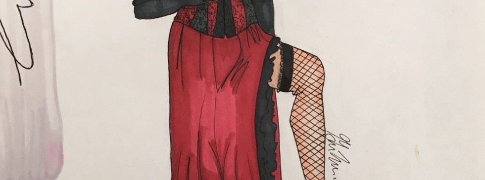 "Rendering of Georgia's ""Thataway"" costume from Curtains"