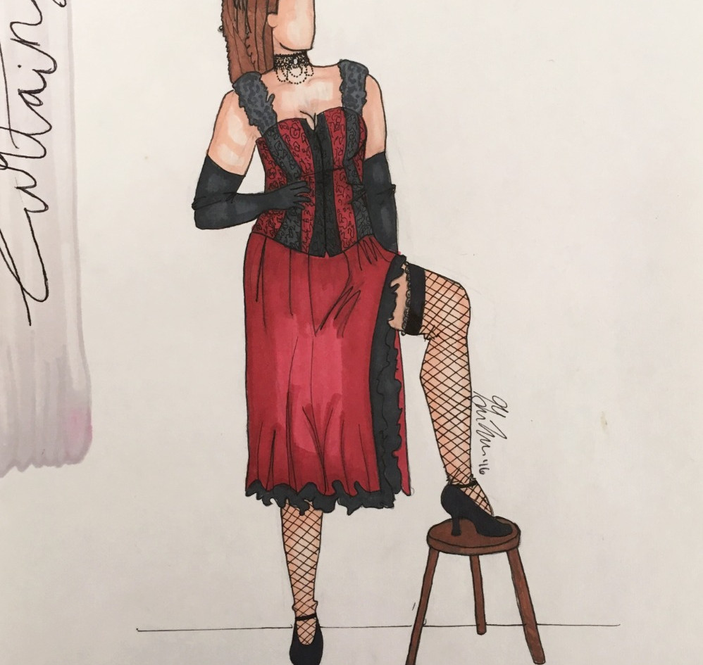 """Rendering of Georgia's """"Thataway"""" costume from Curtains"""