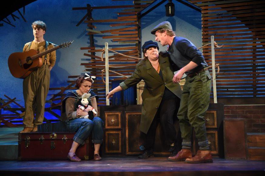 Two boys tease Abilene on the ship