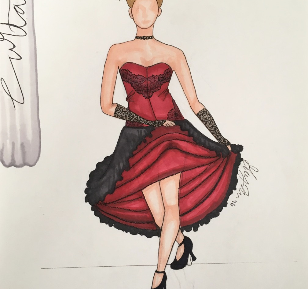 """Rendering of the Can-Can Dancers' """"Thataway"""" costumes from Curtains"""