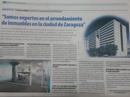 """Centro Empresarial de Aragón, noticia en el periodico """"Cinco días""""."""