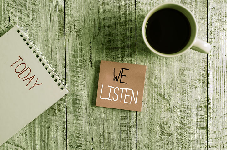 Conceptual hand writing showing We Listen. Business photo text Group of showing that is wi