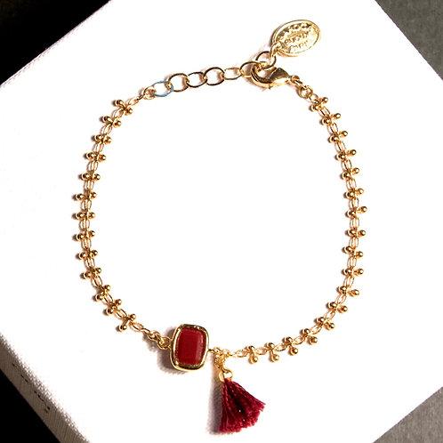 Bracelet pompon bordeaux