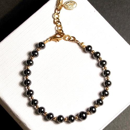 Bracelet perles grises et dorées