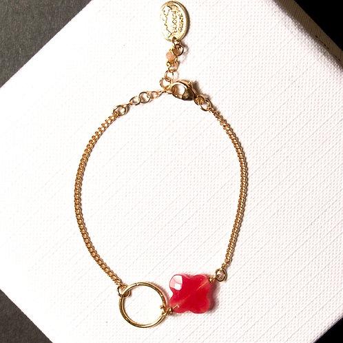 Bracelet en agate rose et mini cercle
