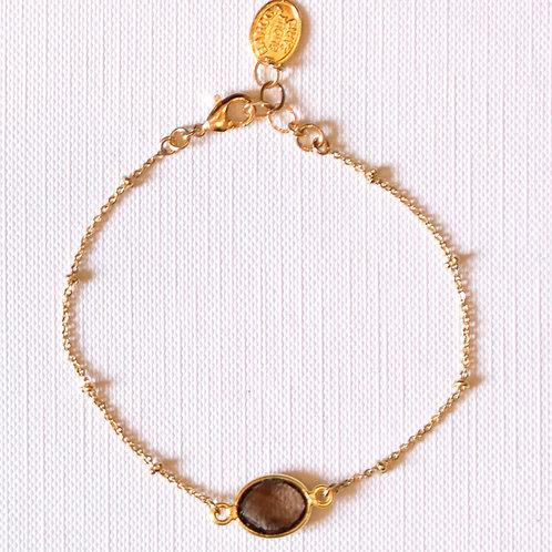 Bracelet plaqué or pierre ovale série en labradorite