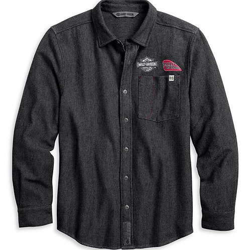SHIRT MULTI PATCH WVN GRY