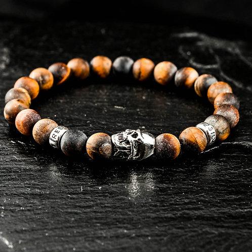 Armband Skull Tigerauge matt 8mm