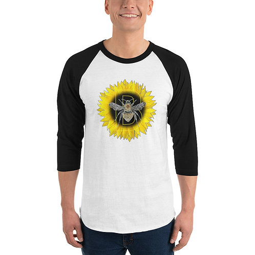 golden sunflower bee 3/4 sleeve raglan shirt
