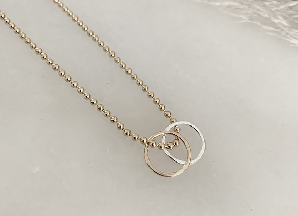 STERLING + GOLD RING  NECKLACE