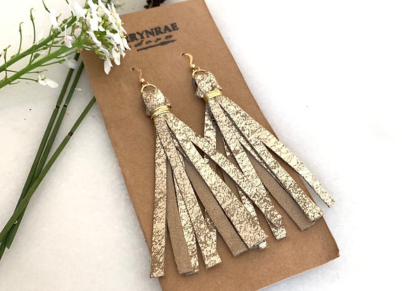 TASSEL EARRING WASHED GOLD