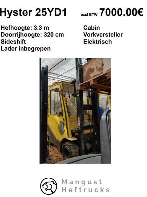 Hyster 2.5 ton met cabine en vorkversteller