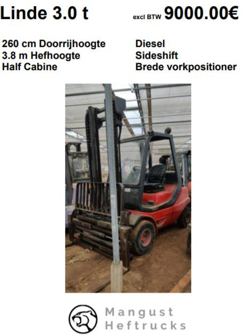 Linde 3 ton met sideshift en brede vorkpostioner