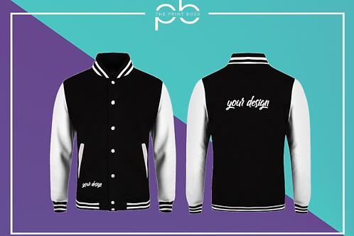 Contrast Varsity Jacket - Print (D)